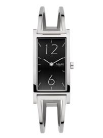 M&M Zilverkleurig Horloge voor Dames met Zwarte Wijzerplaat