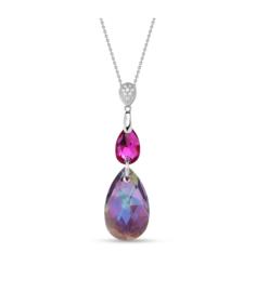 Spark Double Drop Ketting met Robuust Gekleurd Glaskristal