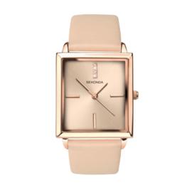 Sekonda Roségoudkleurig Dames Horloge met Beige Horlogeband