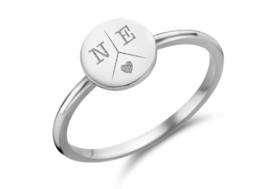 Zilveren Disc Ring met Drie Initialen | Names4ever