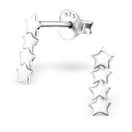 Vier Sterren Rij Oorknoppen van Zilver