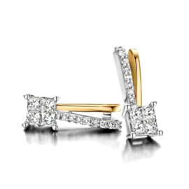 Excellent Jewelry Bicolor Oorstekers met Briljante Diamanten