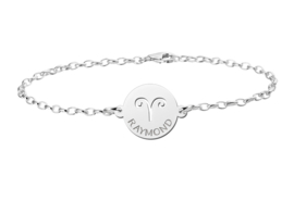 Zilveren Armband met Ronde Ram Sterrenbeeld Naamhanger > Names4ever