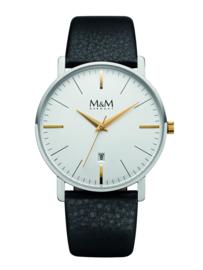 M&M Horloge voor Heren met Zwart Lederen Horlogeband