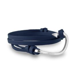 Hooked Blauwe Lederen Armband met Zilverkleurige Haak