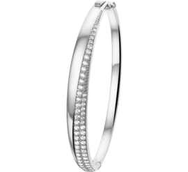 Diagonale Zirkonia Bangle armband van Zilver