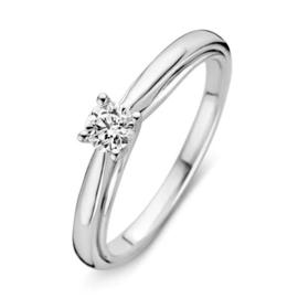 Excellent Jewelry Witgouden Bolstaande Ring met Kleurloze Diamant