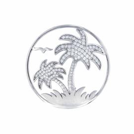 Zilveren Palmtree Beach 33mm Insignia met Zirkonia's van MY iMenso