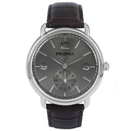 Zilverkleurig Edelstalen Heren Horloge met Grijze Wijzerplaat en Zilverkleurige Cijfers