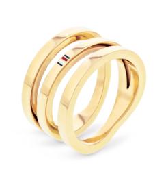 Tommy Hilfiger Driedubbele Goudkleurige Dames Ring / 17,25mm (ringmaat 54)