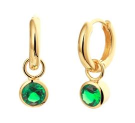 Goudkleurige Klapoorringen met Synthetische Smaragd voor Dames