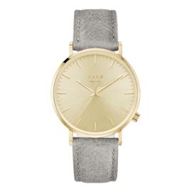 Goudkleurig KANE Horloge met Grijze Lederen Horlogeband
