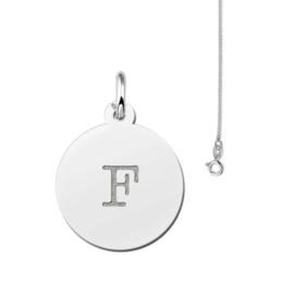 Ronde Zilveren Letter Hanger + Gratis Ketting! t.w.v. € 9,95 | Gift Set