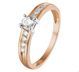 Stevige Bicolor Gouden Ring met Zirkonia's