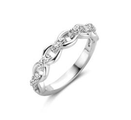 Zilveren Ring met Schakelmotief en Zirkonia's