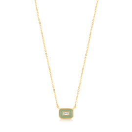 Ania Haie Bright Future Emblem Ketting met Groene Emaille