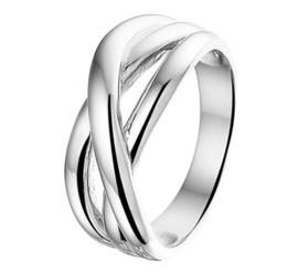 Gerhodineerd Zilveren Ring met Drie Brede Stroken