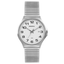 Edelstalen Heren Horloge van Prisma met Rekband en Witte Wijzerplaat