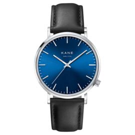 Zilverkleurig KANE Horloge met Zwarte Lederen Horlogeband