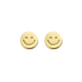 Zilveren Vergulde Oorknoppen met Smiley