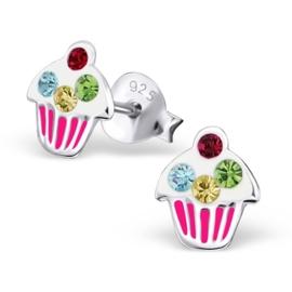 Zilveren Kinderoorbellen Cupcake met Gekleurde Steentjes