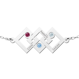 Names4ever Driedubbele Driehoek Zilveren Moeder en Dochter Geboortestenen Graveer Armband