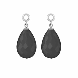 Creoli Hangers met Cat's Eye Dark Gray Facetgeslepen Glasbedel