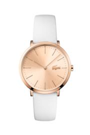 Lacoste Roségoudkleurig Dames Horloge met Wit Lederen Horlogeband