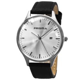 Prisma Heren Horloge van Edelstaal met Zwarte Band