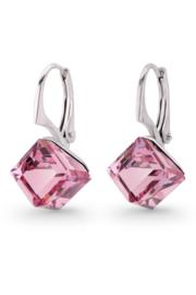 Kubus Roze Swarovski Oorbellen van Spark Jewelry