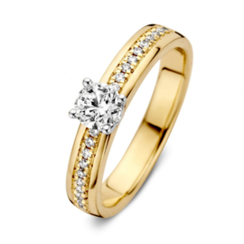 Excellent Jewelry Bicolor Brede Ring met Briljanten