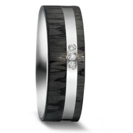 Brede Vlakke Carbon Dames Trouwring met Zilver en Drie Diamanten