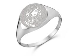 Zilveren Zegelring Rond met Horoscoop en Naam | Names4ever