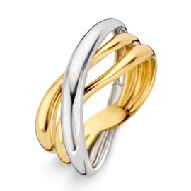 Excellent Jewelry Opengewerkte Bicolor Ring met Vloeiende Stroken