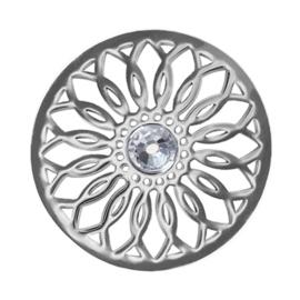 LOCKits Zilverkleurige Bloem Munt van Edelstaal met Zirkonia 33mm