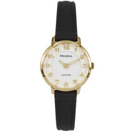 Prisma Goudkleurig Rond Dames Horloge met Zwart Lederen Horlogeband