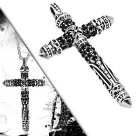 Gedecoreerde Edelstalen Kruis Hanger