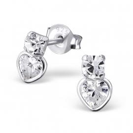 Zilveren Hartjes Oorbellen met Zirkonia Steentjes