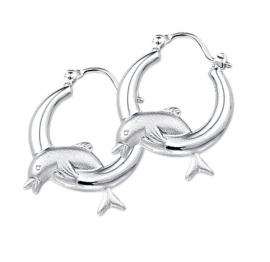 Glanzende Dolfijn Creolen van Zilver