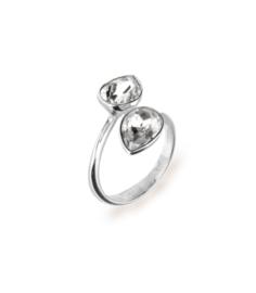 Spark Zilveren Pear Drop Ring met Witte Swarovski Kristallen