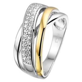 Excellent Jewelry Brede Witgouden Stroken Ring met Zirkonia's en Geelgoud