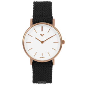 Prisma Roségoudkleurig Slimline Dames Horloge met Zwarte Band