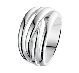 Ring van Zilver met Vier Stroken Voorkant / Maat 16,5