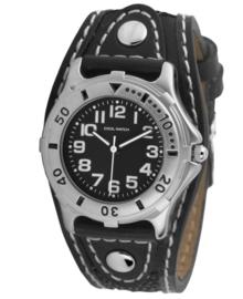 Stijlvol Jongens Horloge met Zwart Lederen Band met Wit Stiksel