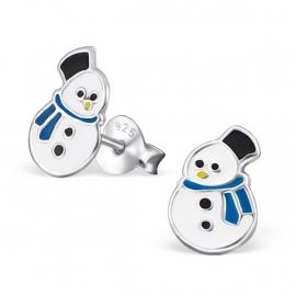 Sneeuwpop met een blauwe sjaal | Kinderoorbellen Zilver
