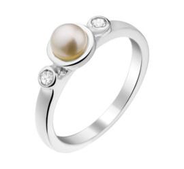 Zilveren Ring voor Kinderen met Zoetwaterparel en Zirkonia's