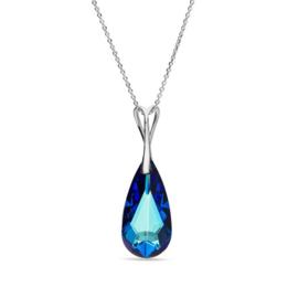 Teardrop Blauwe Glaskristal Hanger met Zilveren ketting