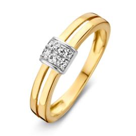Excellent Jewelry Geelgouden Opengewerkte Ring met Witgouden Zirkonia's