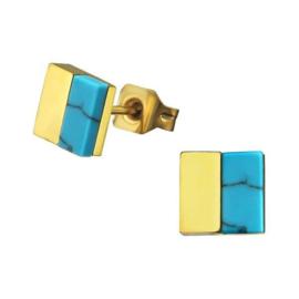 Vierkante Edelstalen Oorknoppen met Imitatie Turquoise