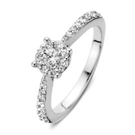 Excellent Jewelry Witgouden Ring met 0,59crt. Briljanten